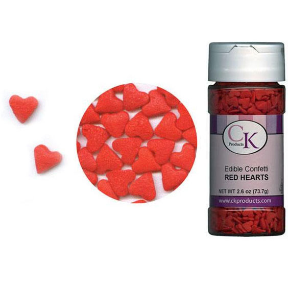 Red Hearts Edible Confetti | Cookie Decorating Supplies